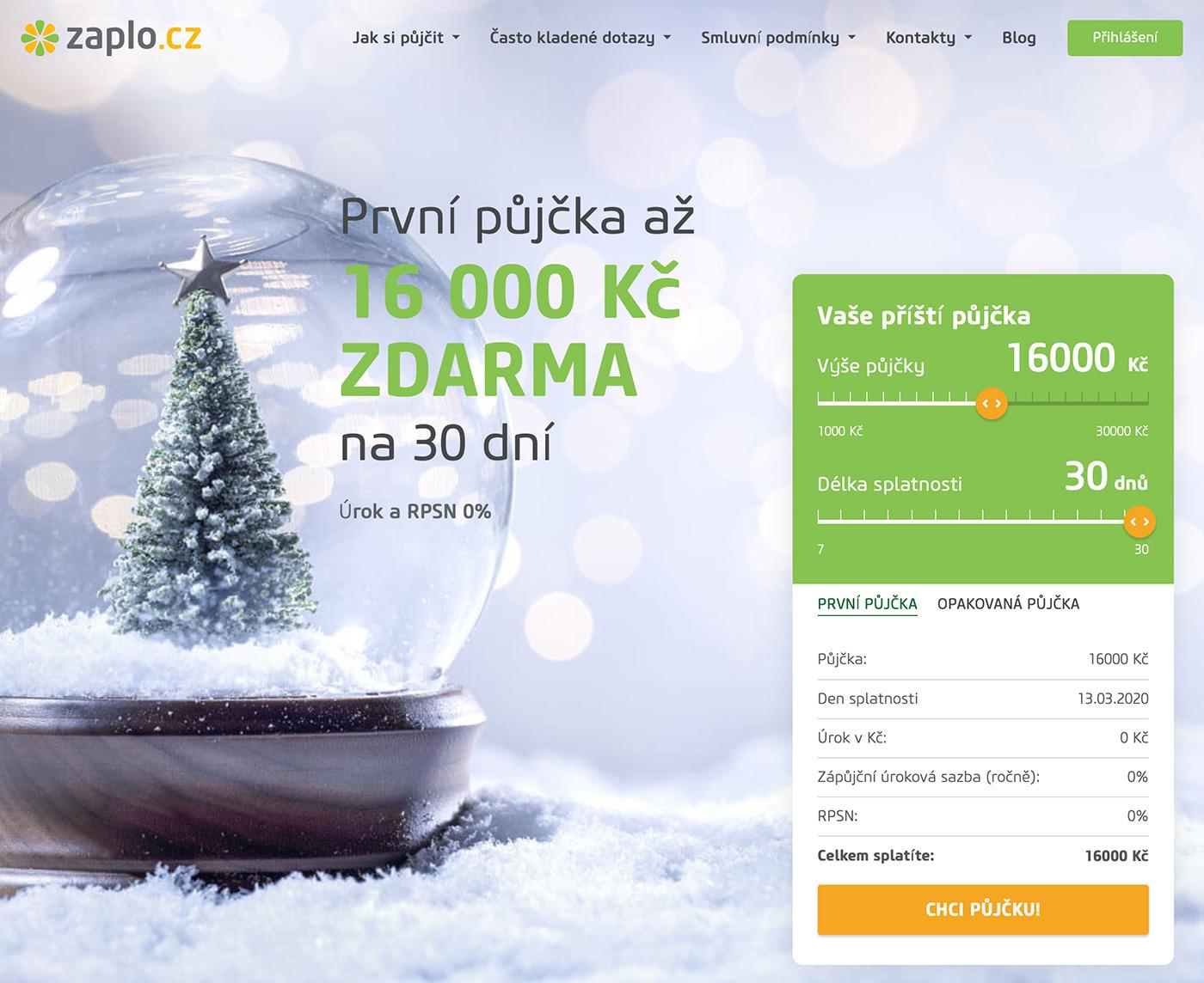 Titulní stránka webu www.zaplo.cz s formulářem pro online žádost