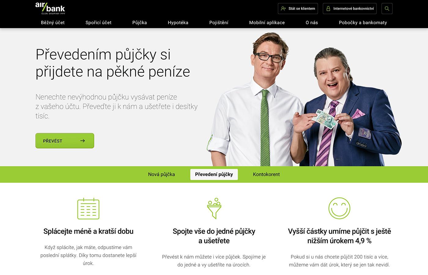 Náhled webových stránek www.airbank.cz/produkty/prevedeni-pujcky/