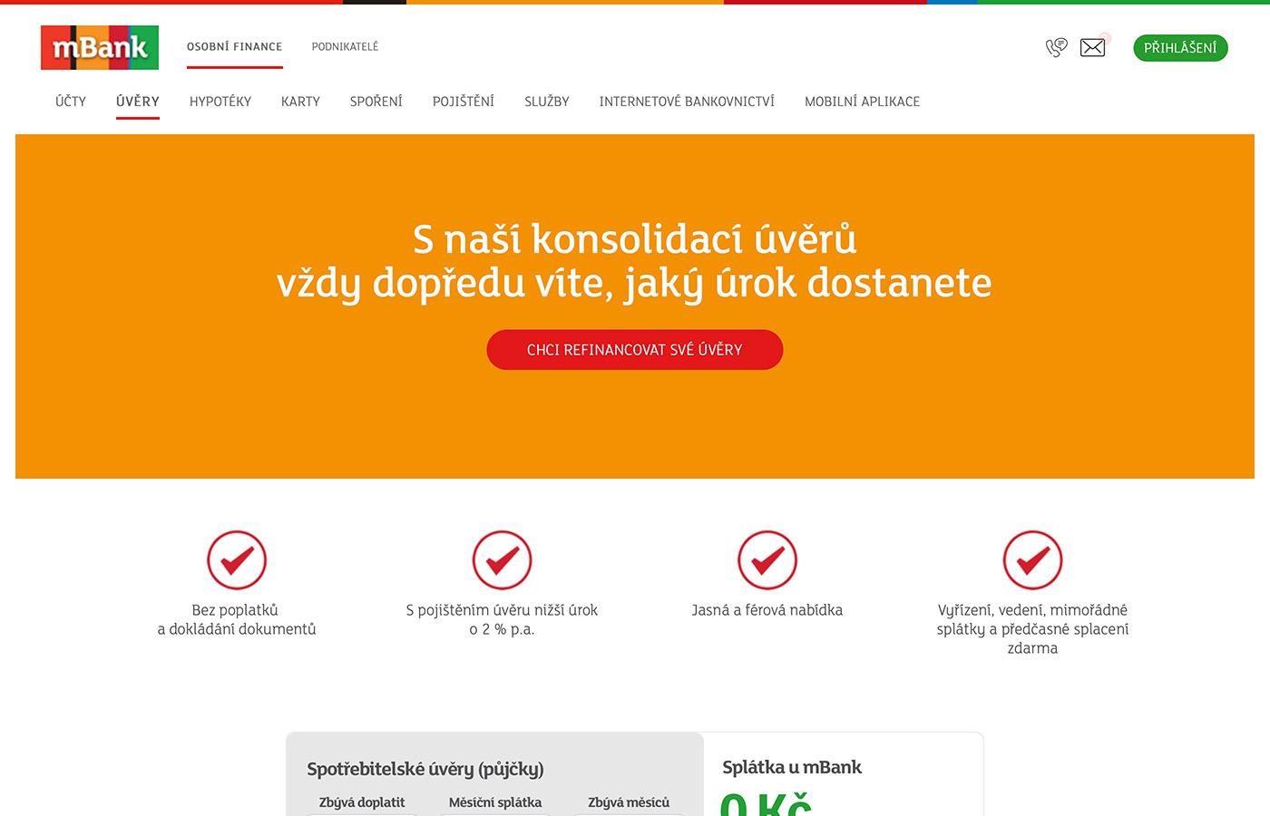 Náhled webových stránek www.mbank.cz/osobni/uvery/mpujcka-konsolidace/