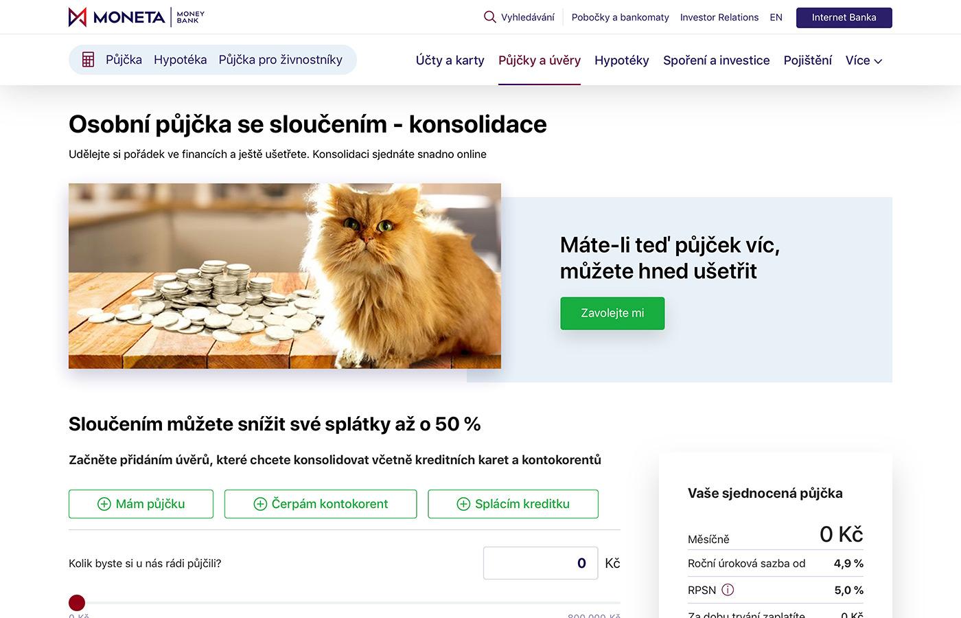 Náhled webových stránek www.moneta.cz/pujcky-a-uvery/slouceni-pujcek