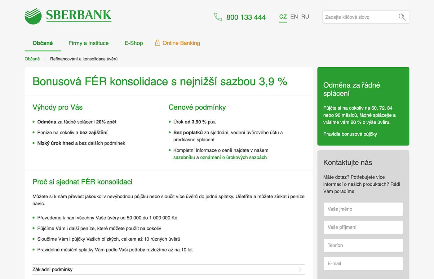 Náhled webových stránek www.sberbankcz.cz/obcane/refinancovani-a-konsolidace-uveru