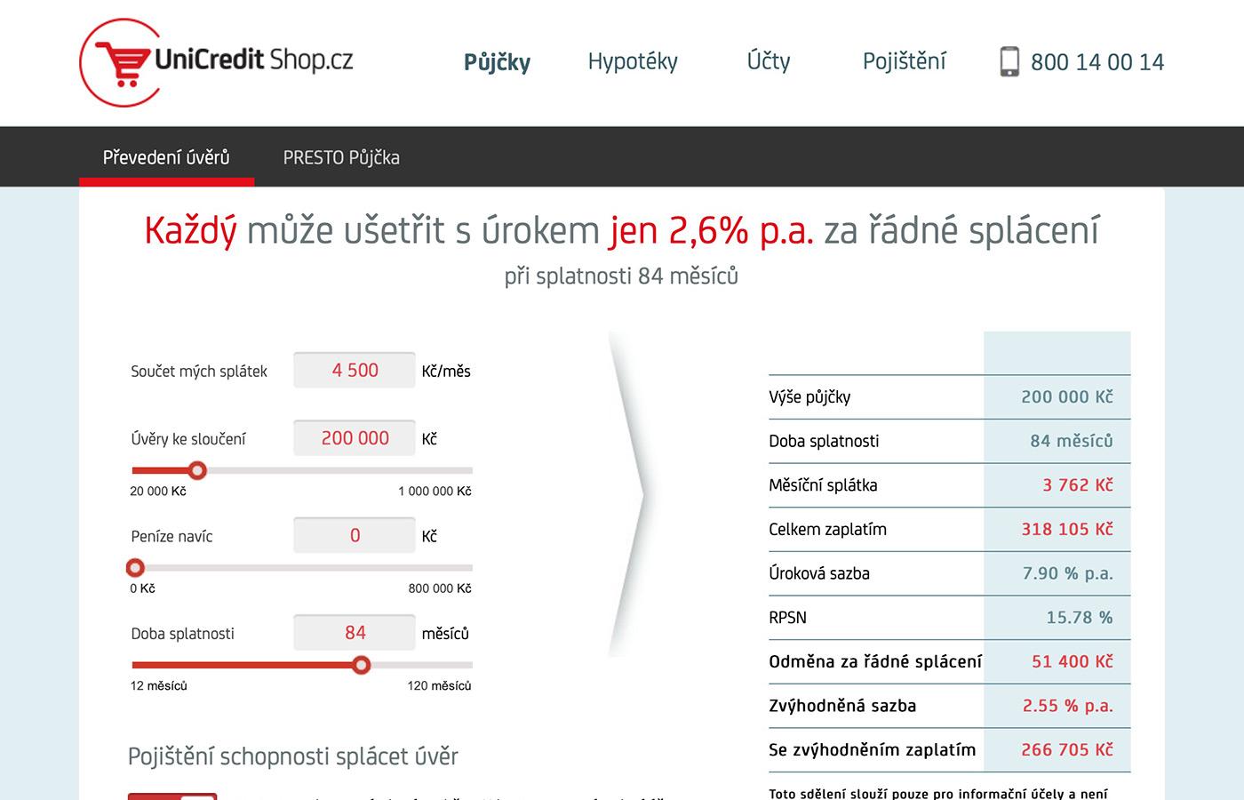 Náhled webových stránek www.unicreditshop.cz/online-pujcky#/slouceni-uveru