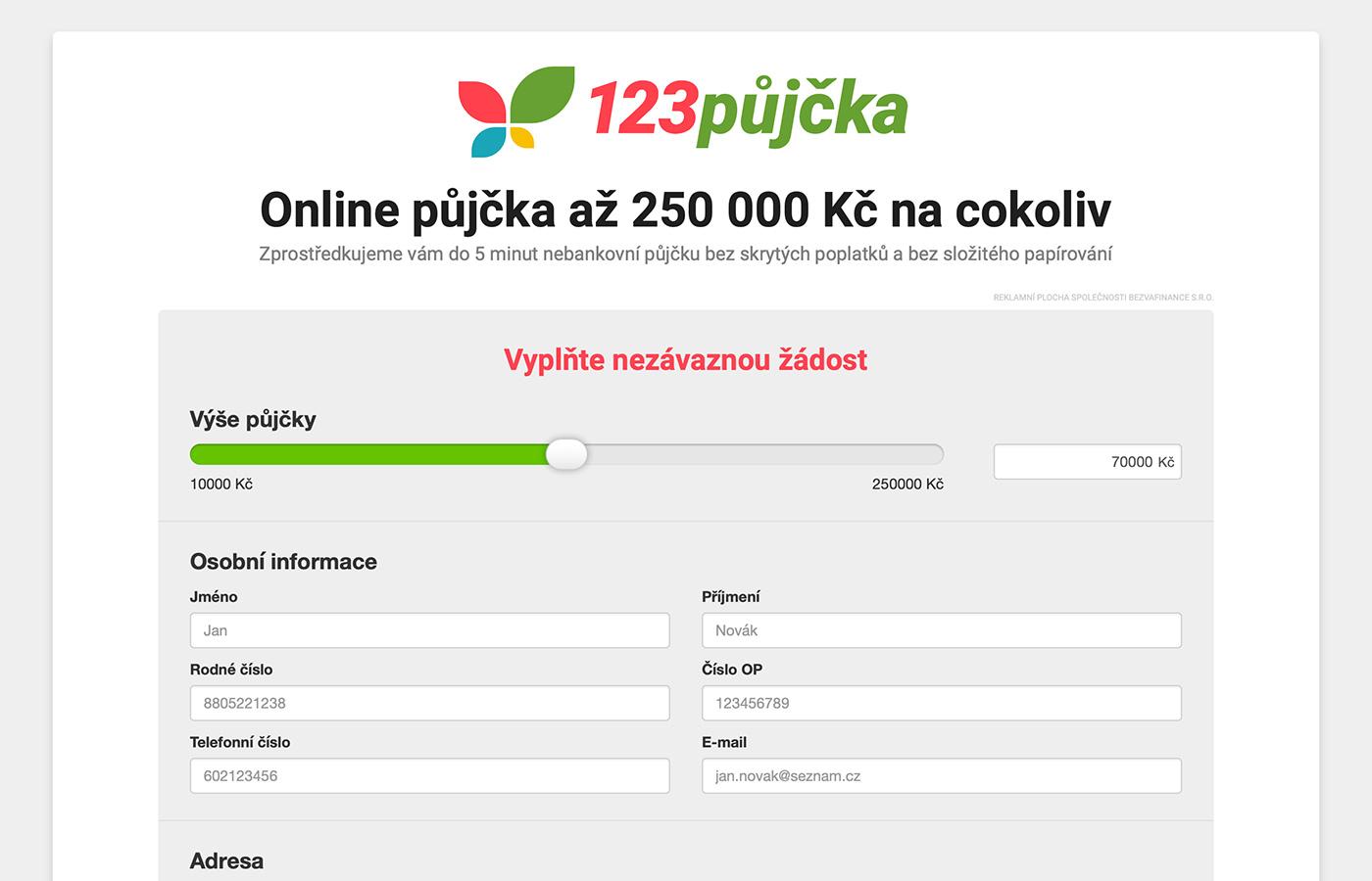 Nebankovní půjčka až 250 000 Kč bez ručitele - OKfin.cz.