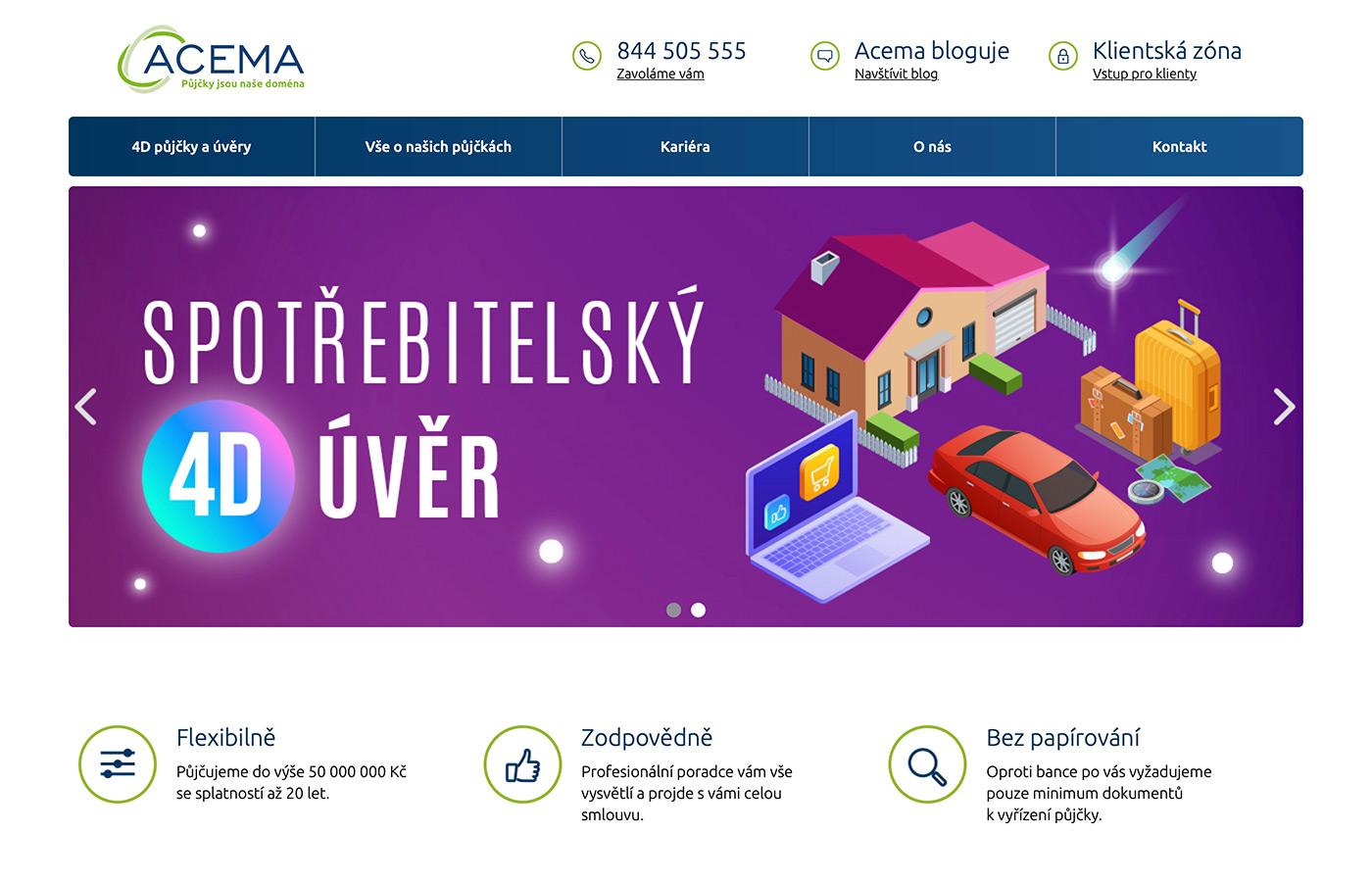 Náhled webových stránek www.acema.cz