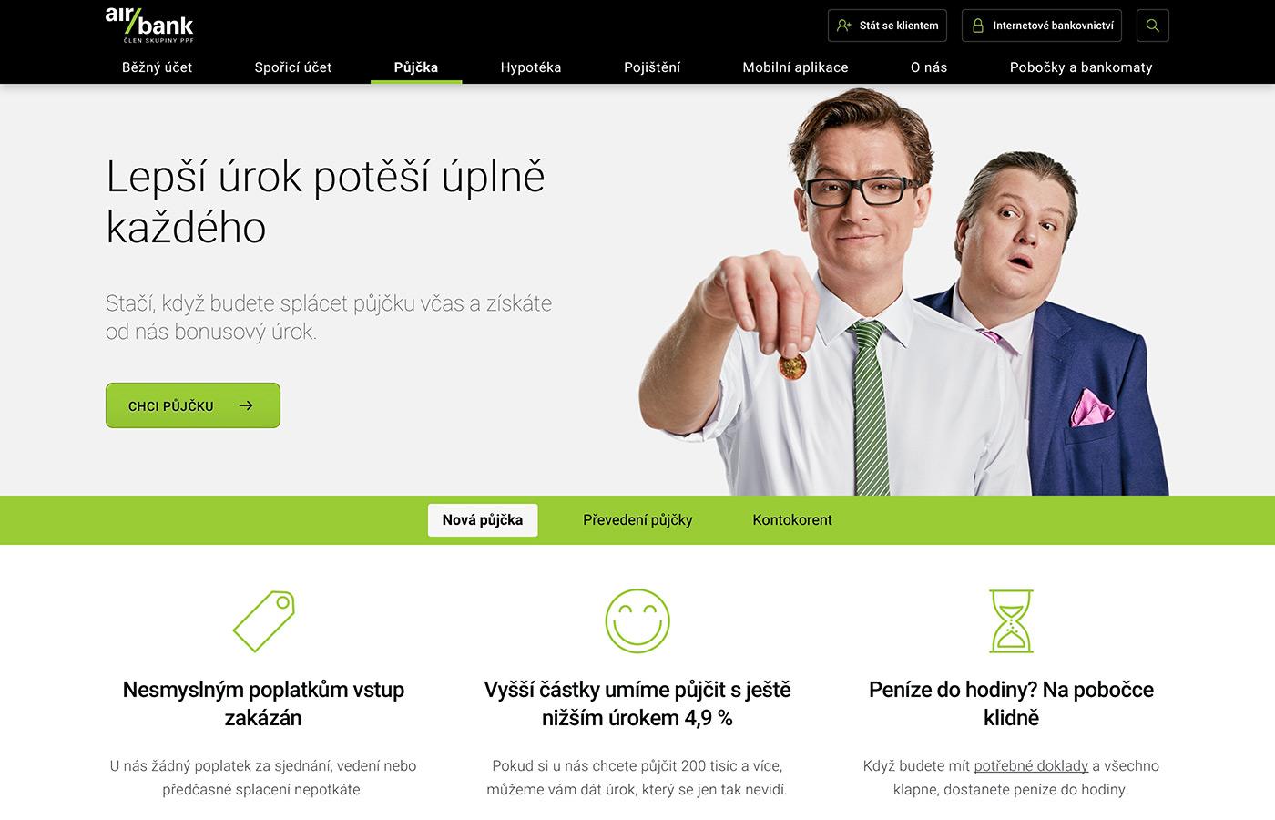Náhled webových stránek www.airbank.cz/produkty/pujcka/