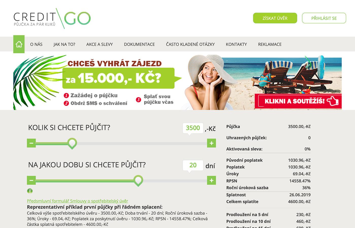 Náhled webových stránek www.creditgo.cz