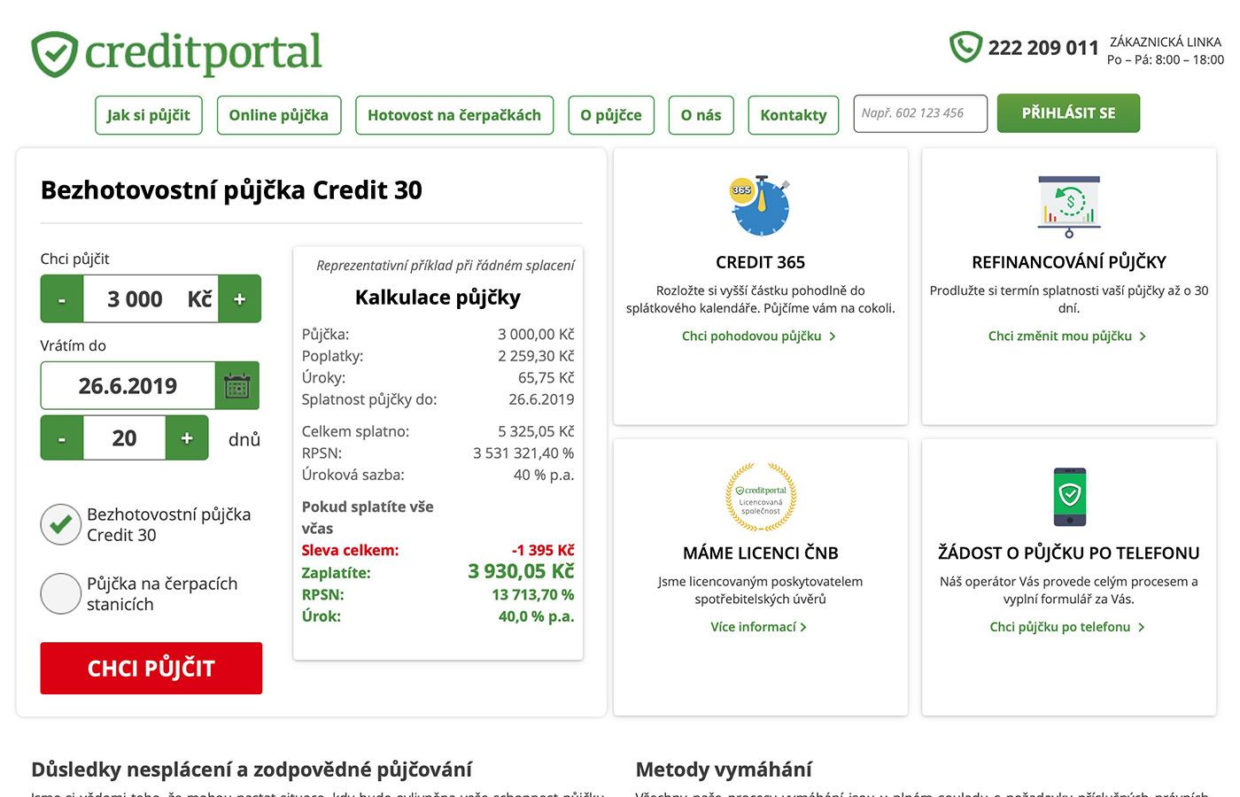 Náhled webových stránek www.creditportal.cz/cs/kb/hotovostni-pujcka-na-cerpackach