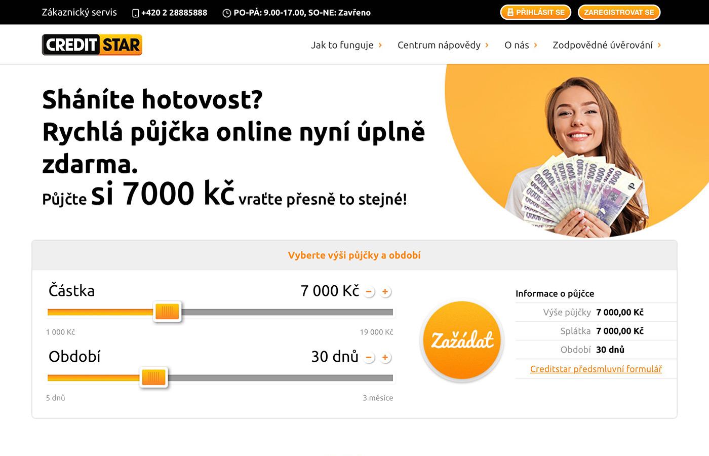 Náhled webových stránek www.creditstar.cz