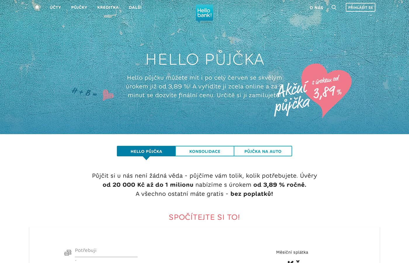 Náhled webových stránek www.hellobank.cz/pujcky/na-cokoliv