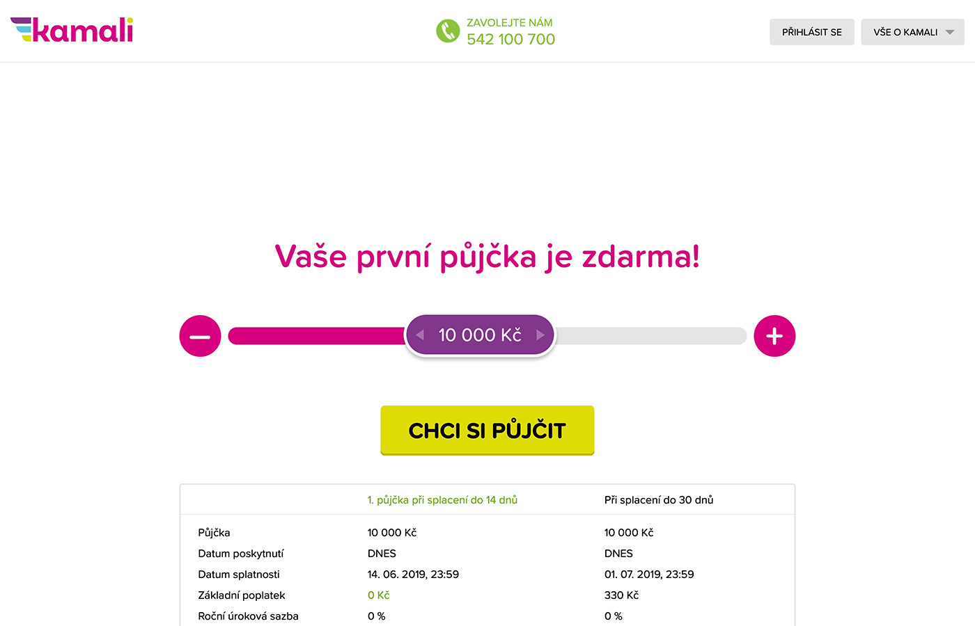 Náhled webových stránek www.kamali.cz