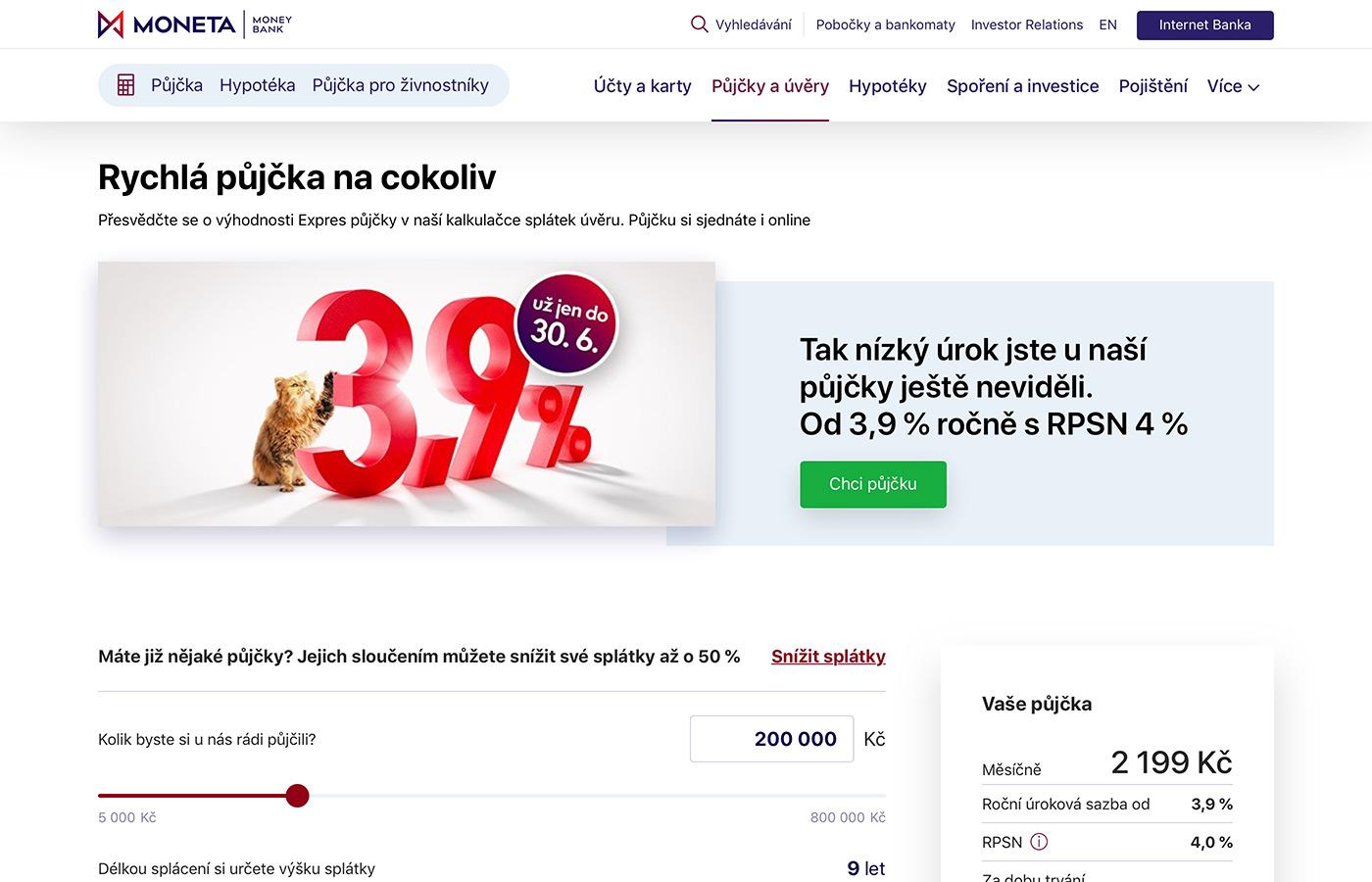 Náhled webových stránek www.moneta.cz/pujcky-a-uvery/pujcka-na-cokoliv