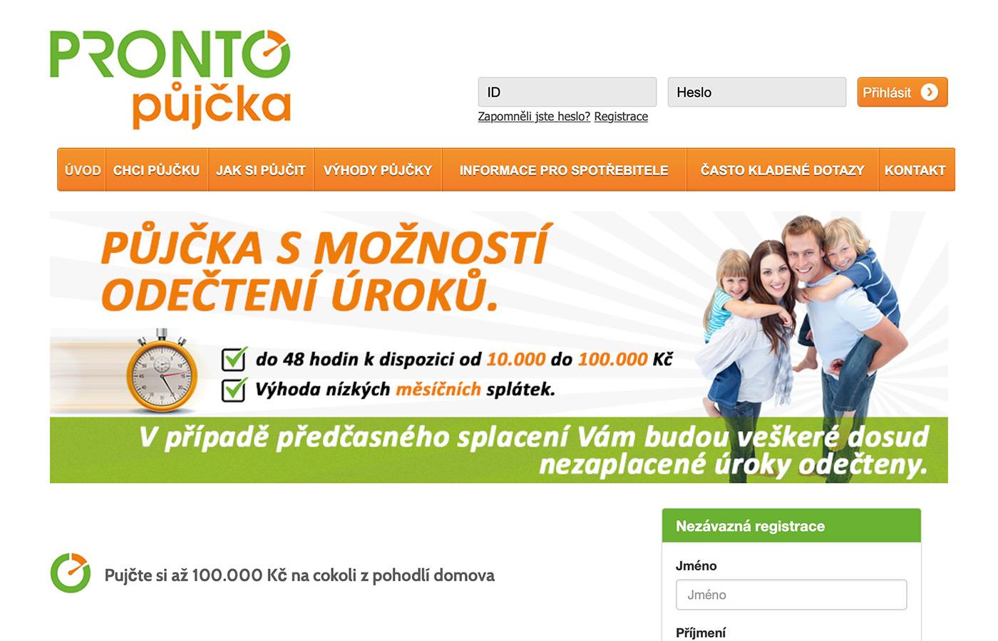 Náhled webových stránek prontopujcka.cz