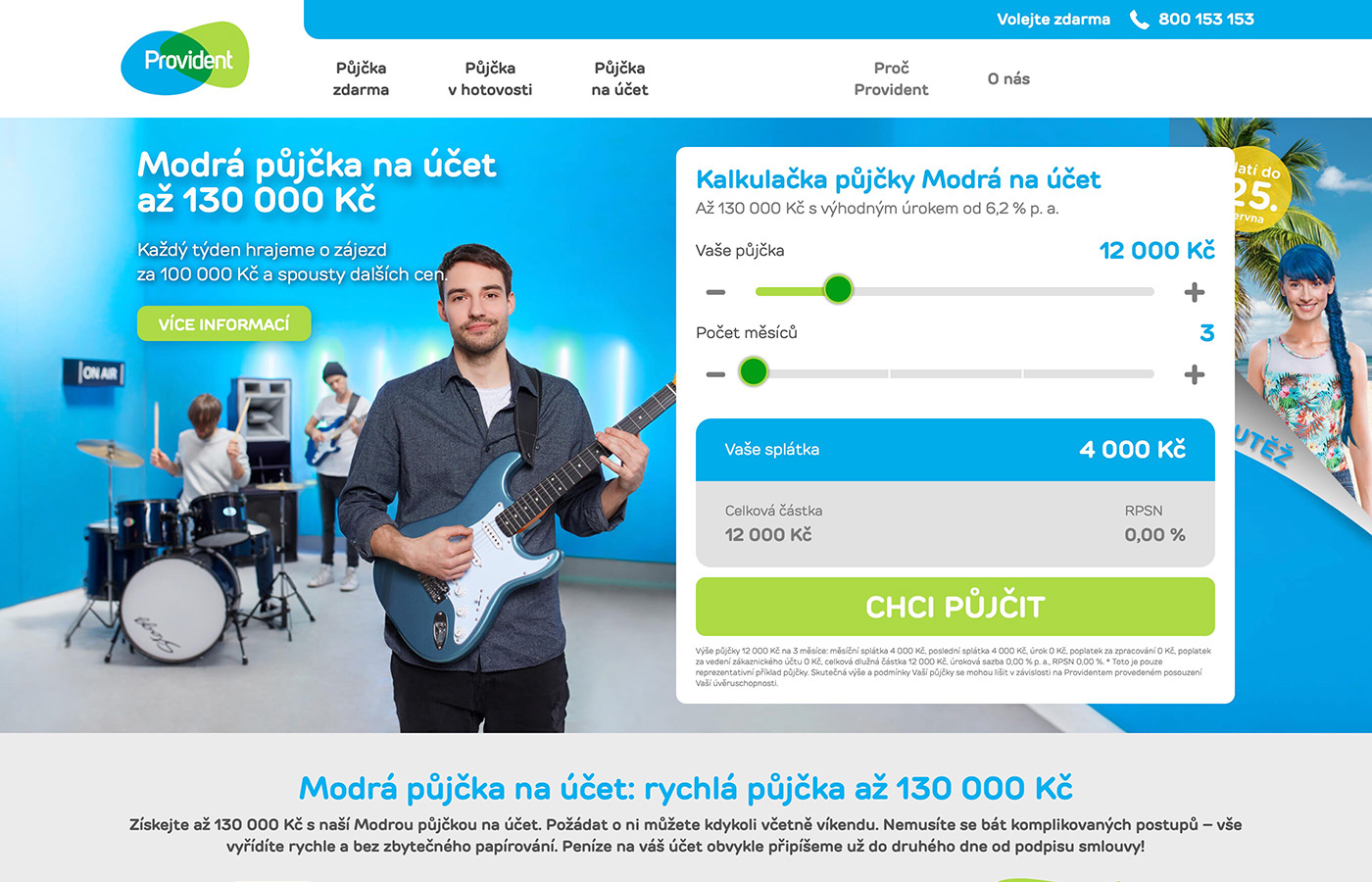 Náhled webových stránek www.provident.cz/pujcky/pujcka-na-ucet