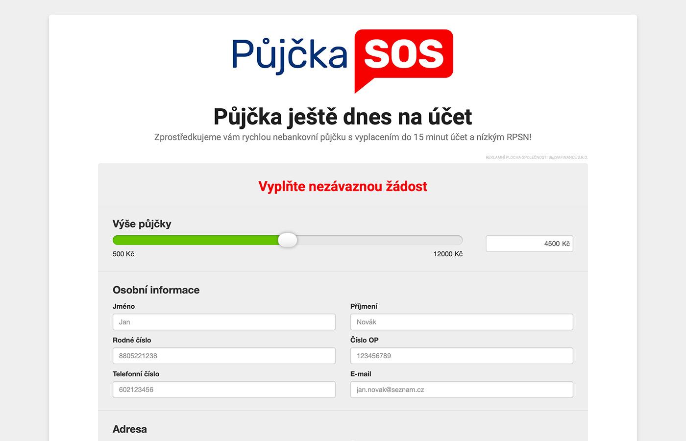 Náhled webových stránek www.pujckasos.cz