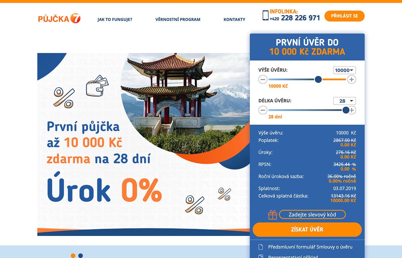 Náhled webových stránek www.pujcka7.cz