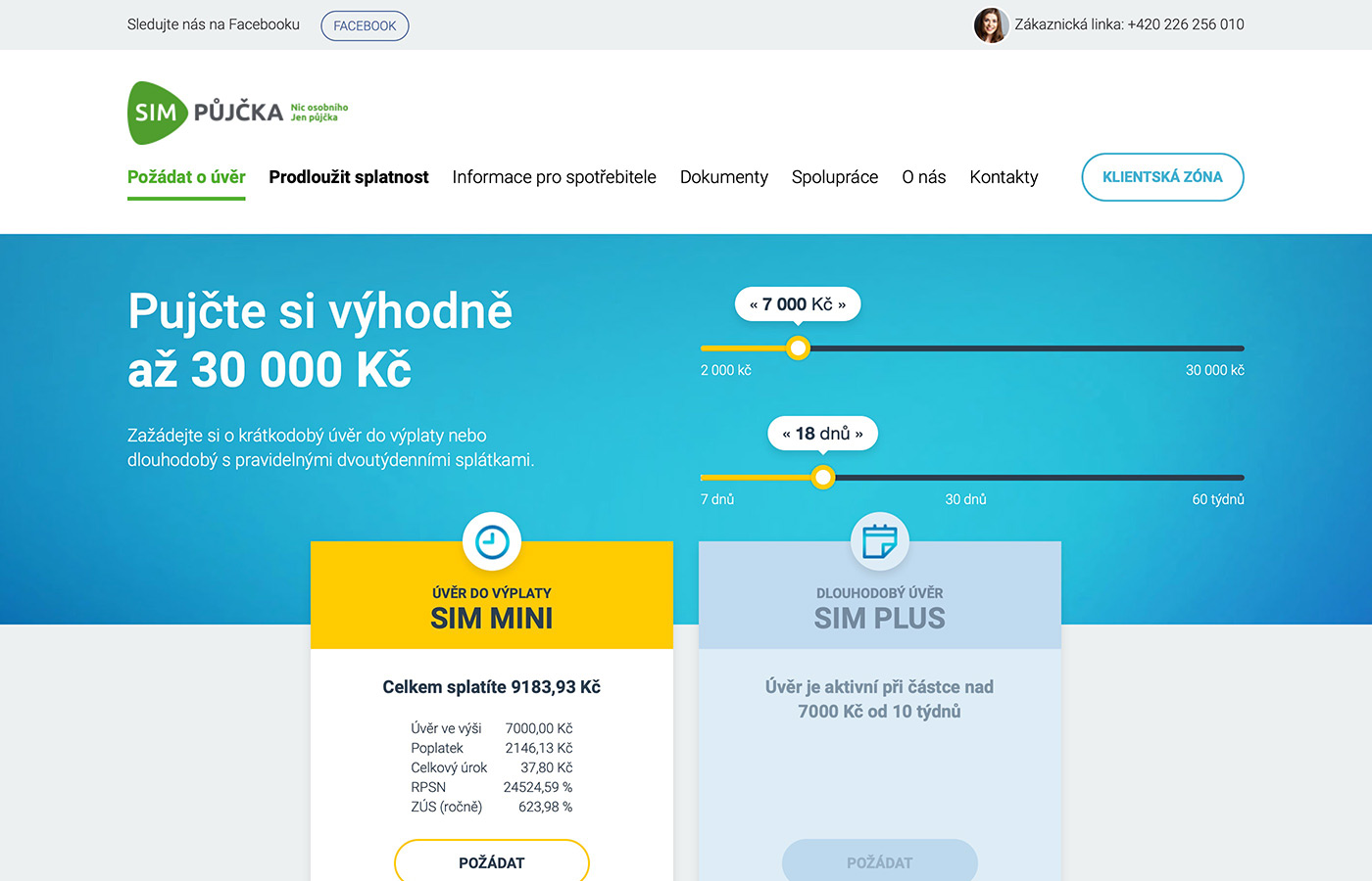 Náhled webových stránek www.simpujcka.cz