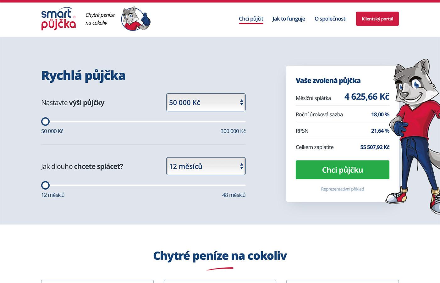Náhled webových stránek www.smartpujcka.cz