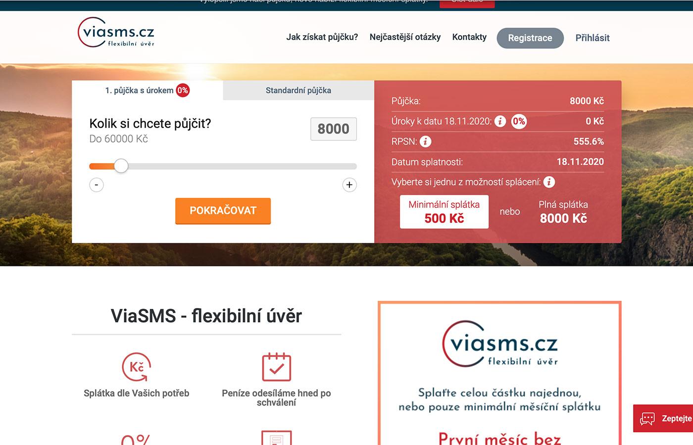 Náhled webových stránek www.viasms.cz