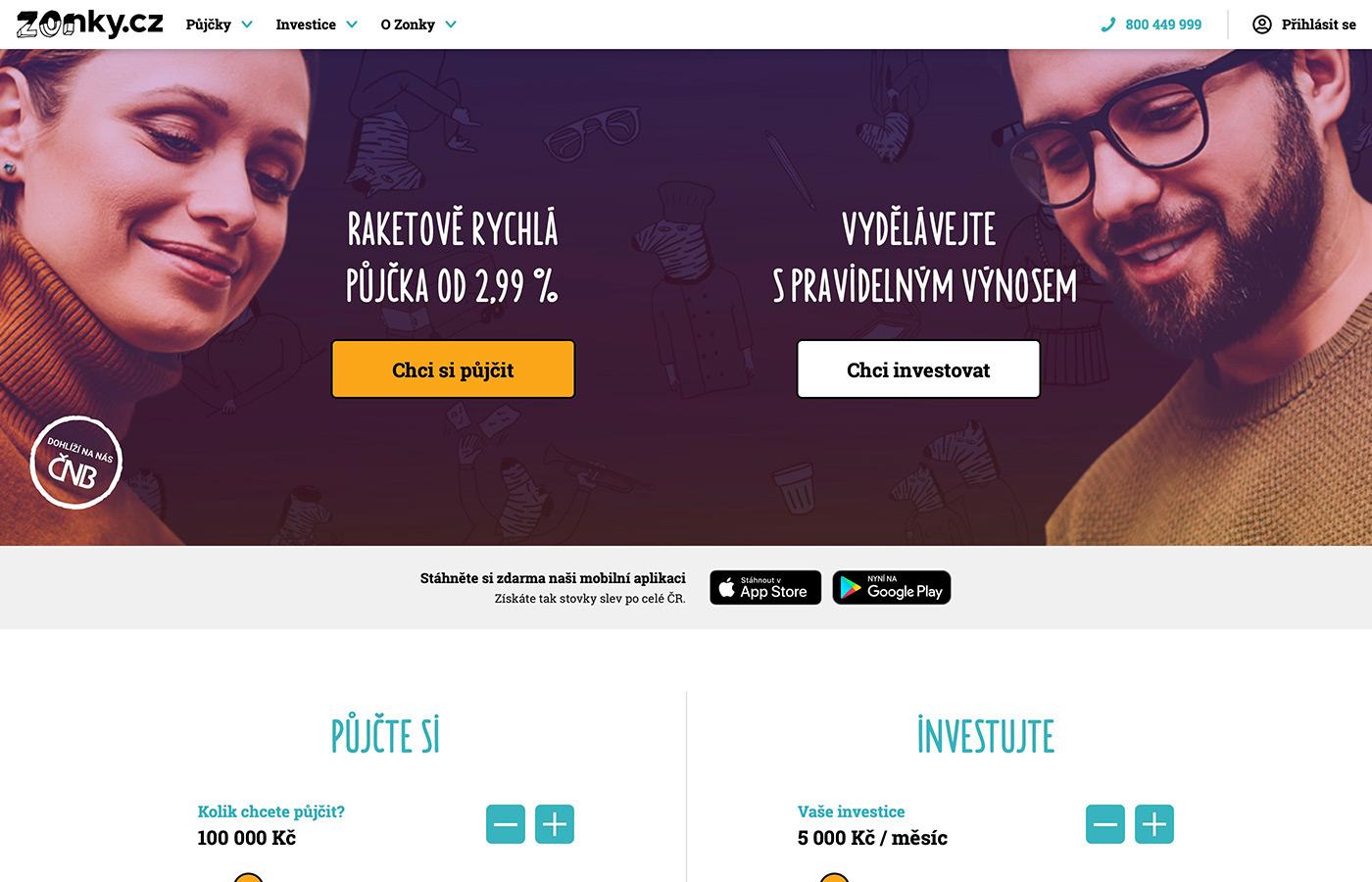 Náhled webových stránek www.zonky.cz