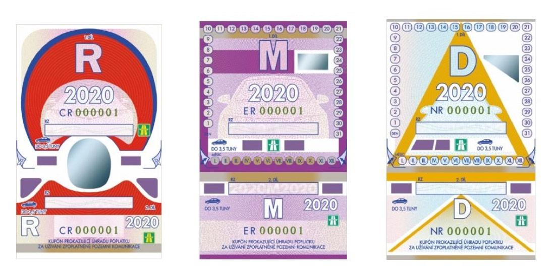 Dálniční známky 2020 - ukázka kuponů