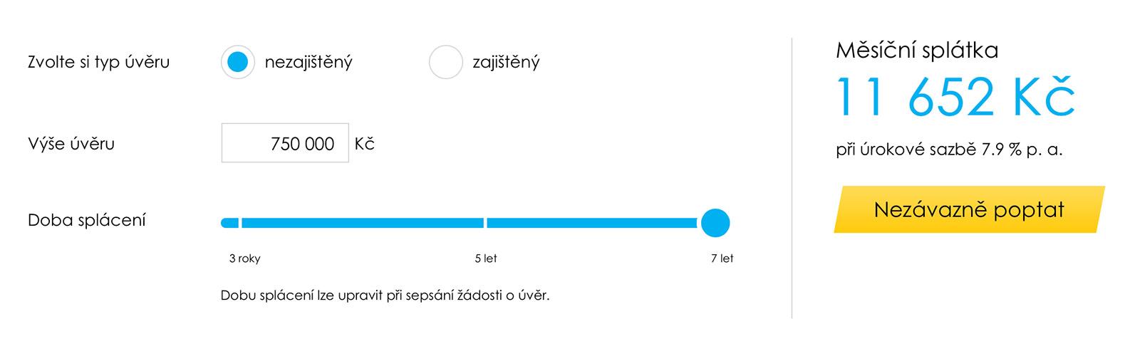 Výpočet na webu www.equabank.cz