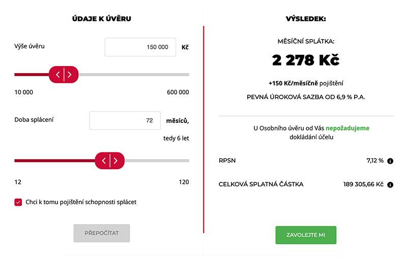Kalkulačka pro výpočet úvěru na webu www.kb.cz