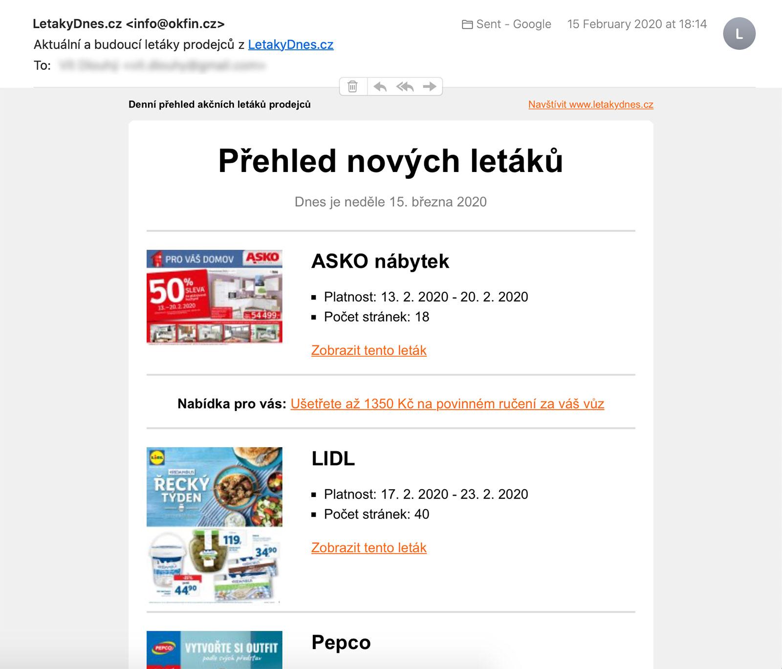 Ukázka přijatého emailu z LetakyDnes.cz
