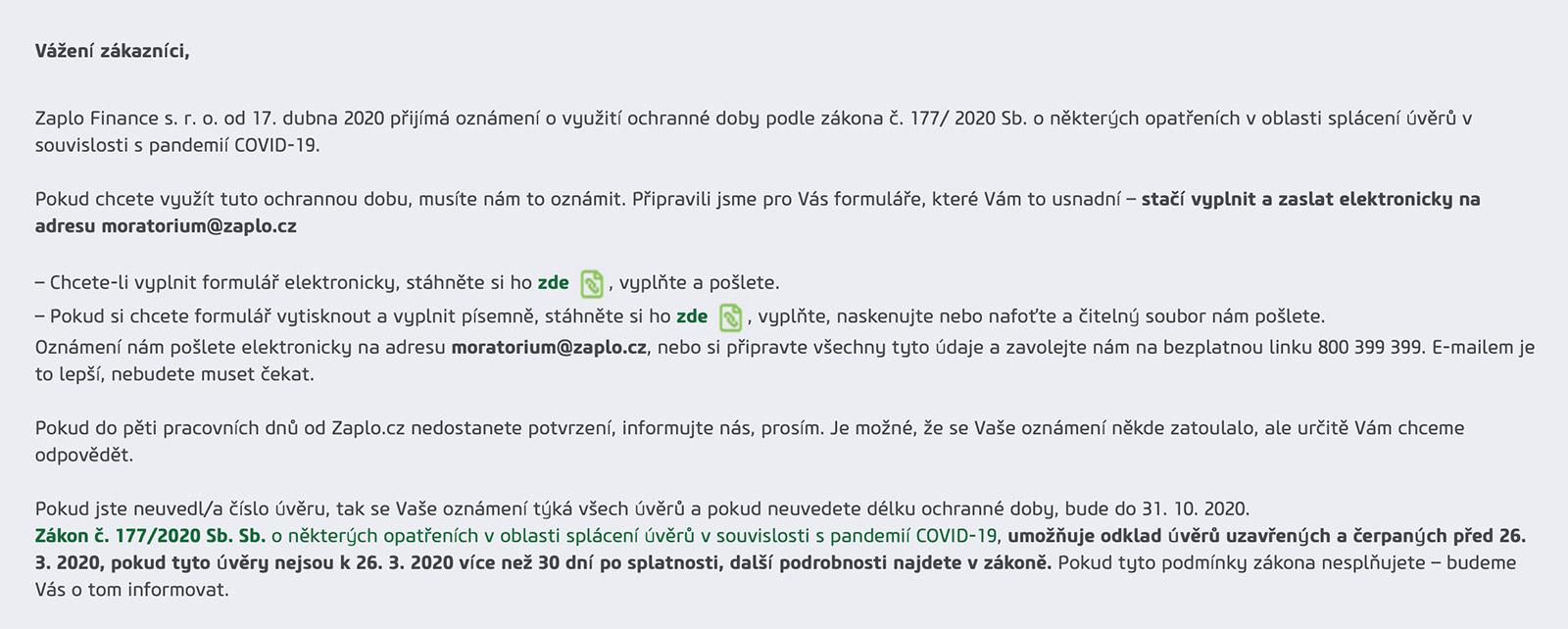 Odklad splátek na webu www.zaplo.cz