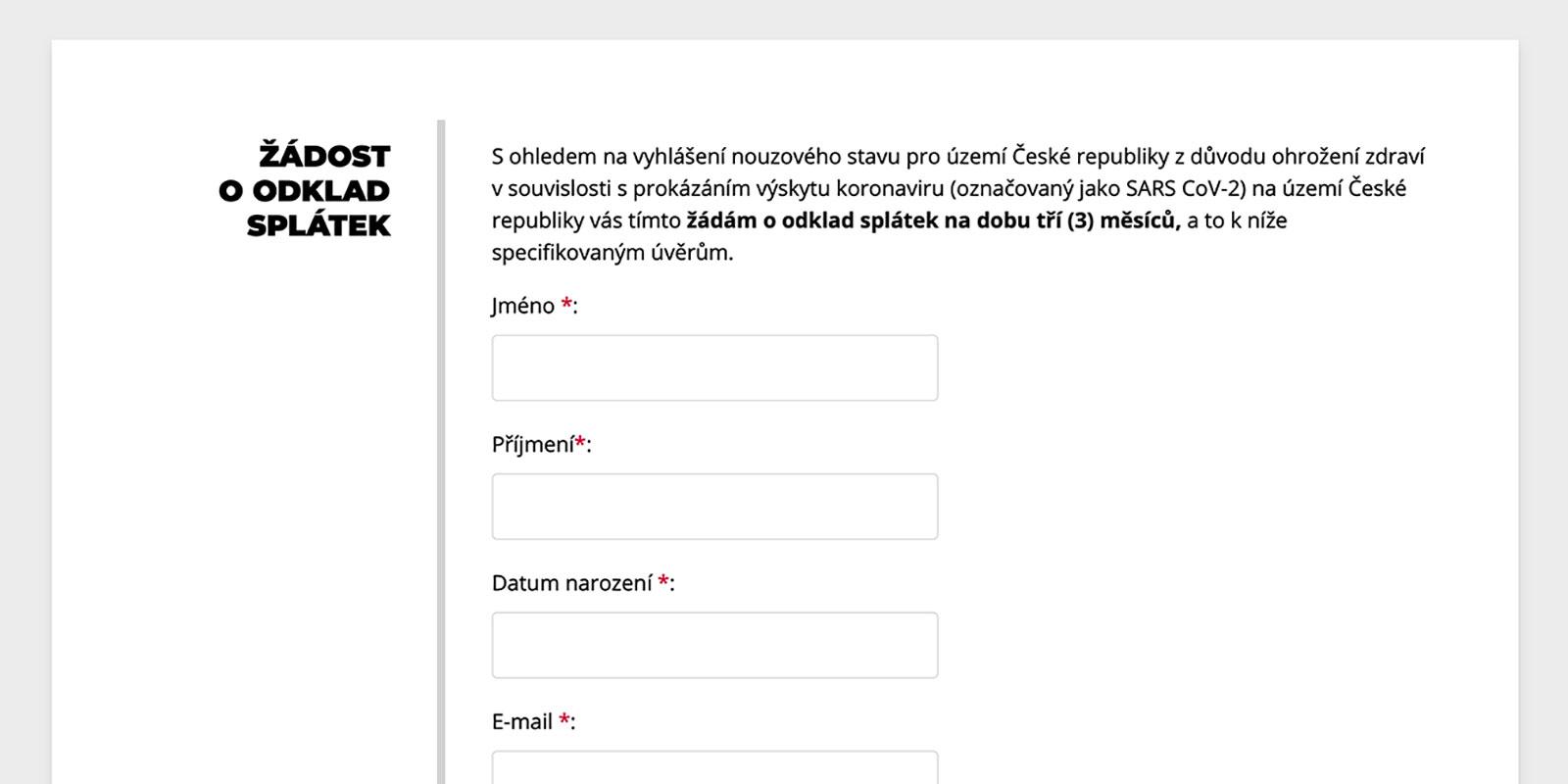 Formulář na stránkách www.kb.cz