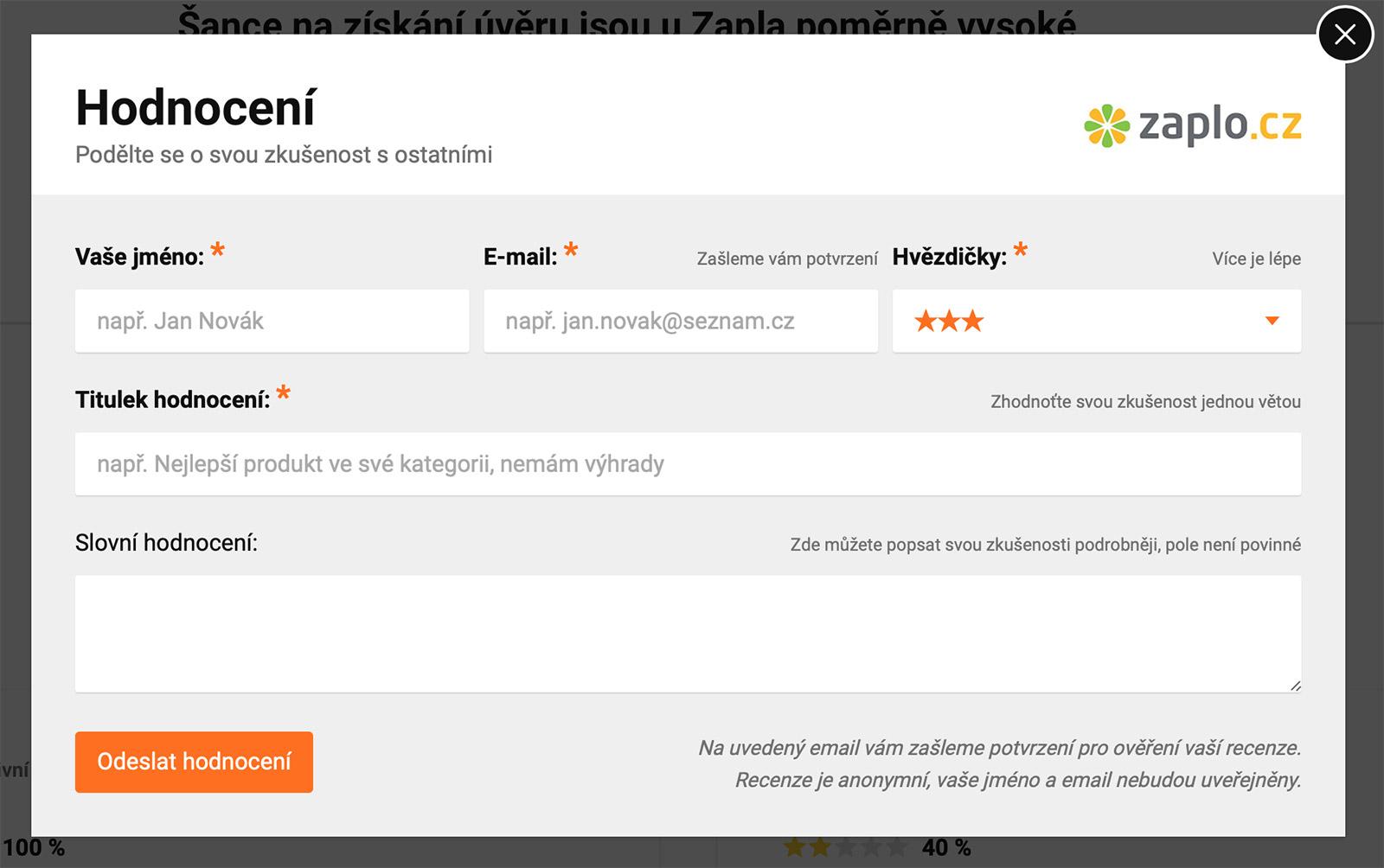 Vložení uživatelského hodnocení na web okfin.cz