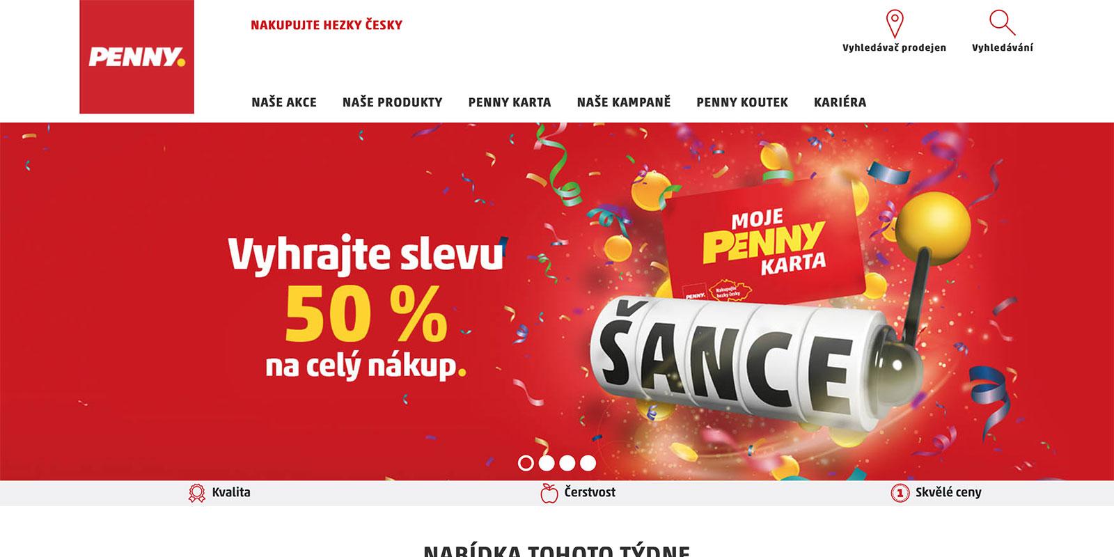 Webové stránky www.penny.cz