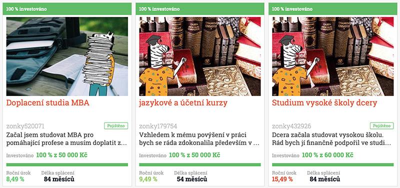 Studentské půjčky na portále zonky.cz